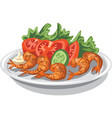shrimps with salad vector image vector image