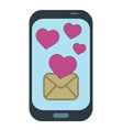 smart phone with e mail text message sending cute vector image vector image