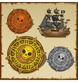 Symbolic set of pirate attributes seal and ship vector image vector image