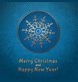 this is a blue and gold christmas card vector image