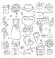 various wedding day symbols hand drawn vector image vector image