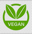 vegan label badge icon in flat style vegetarian vector image