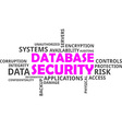 word cloud database security vector image vector image
