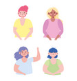 young women group cartoon character avatar icons vector image