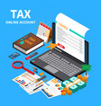 accounting tax isometric composition vector image vector image
