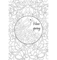 adult coloring bookpage a cute bird on brunch vector image