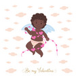 african black cupid holding garland vector image vector image