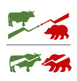 Bull and bear Rise and fall of securities Green vector image