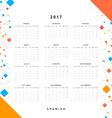 Calendar 2017 in Spanish simple modern vector image vector image