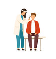 cartoon female otolaryngologist checking ears of vector image vector image