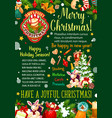 christmas gift and bell greeting banner design vector image vector image