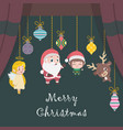 christmas greeting with various characters vector image