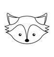 cute line icon fox face cartoon vector image vector image