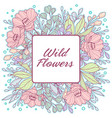 delicate pastel wild flowers frame vector image
