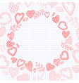 doodle hearts frame on the checkered notebook vector image vector image