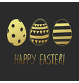 easter greeting eggs gold dark vector image vector image