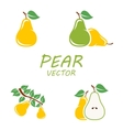 flat pear icons set vector image vector image
