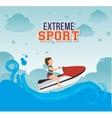 girl jet ski waves sea emblem vector image vector image