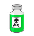 glass vial of poison green liquide with sign of vector image