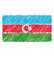 hand drawn national flag of azerbaijan isolated on vector image