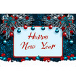 happy new year greeting card with decorations on vector image