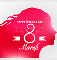 happy women day greeting card with female face vector image vector image
