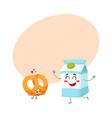 hot crispy german pretzel and milk box characters vector image vector image