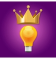 idea is king bulb shine lamp crown queen vector image vector image