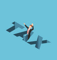 isometric businessman falling into tax hole vector image vector image