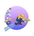 isometric interior repairs concept the repairer vector image vector image