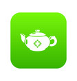 kettle glass icon green vector image vector image