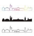Krakow skyline linear style with rainbow vector image vector image