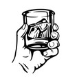 male hand holding glass with alcohol vector image