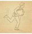 Man running with suitcase full of money vector image