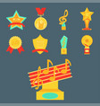 music award statuette microphone and notes vector image vector image