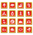 nature icons set red square vector image vector image