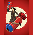north korea pin up girl ride a nuclear bomb vector image vector image