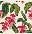 paradise flowers pattern red and white long vector image vector image