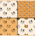 pattern collection with inky lucky cat vector image vector image