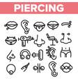 piercing salon theme linear icons set vector image