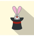 Rabbit appearing from a top magic hat vector image vector image