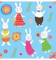 Rabbits pattern vector image vector image