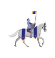 royal knight with flag in steel armor and white vector image vector image