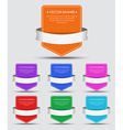 set colorful banners with ribbon vector image