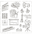 Set of objects and symbols on the cinema theme