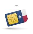 State of Texas phone sim card with flag vector image vector image