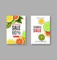 summer sale banners with sliced citrus and kiwi vector image