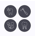 Toothpaste dental tubules and toothache icons vector image vector image
