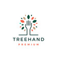 tree hand leaf logo icon vector image