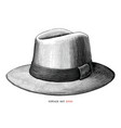 vintage hat hand draw engraving style black and vector image vector image